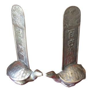 Antique Korean Brass Turtle Bookends- A Pair For Sale