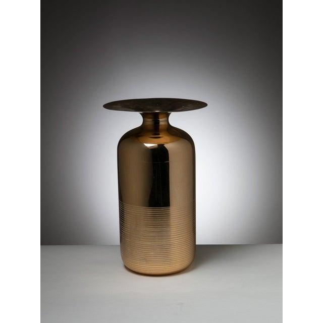 Modern Italian 70s Brass Vase For Sale - Image 3 of 3