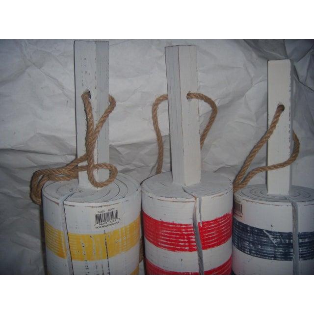 Primary-Stripe Wood Buoys - Set of 3 - Image 4 of 5