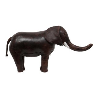 Leather Elephant Ottoman for Abercrombie & Fitch For Sale