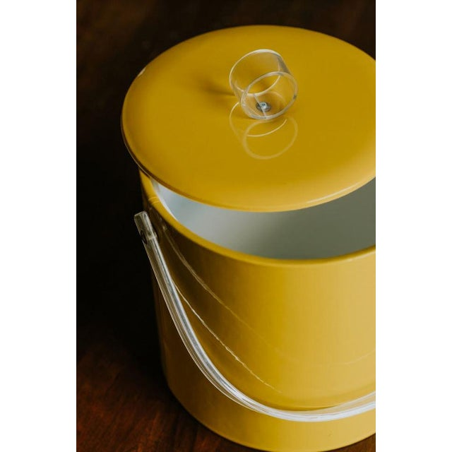 Retro Vinyl Yellow Ice Bucket For Sale - Image 4 of 9