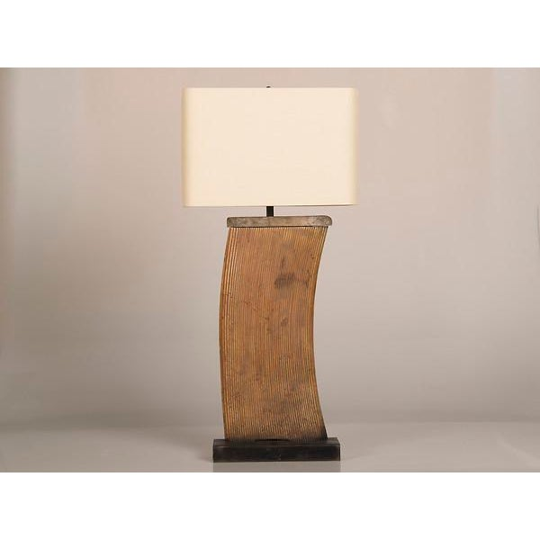 A striking vintage French lamp created from an industrial cast iron remnant manufactured circa 1930. Please note that the...