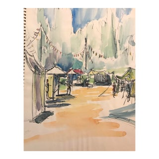 1966 Vintage Festival Scene Watercolor Painting For Sale