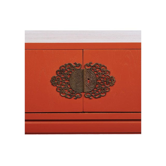 Red Lacquered Hollywood Regency Side Table - Image 6 of 8