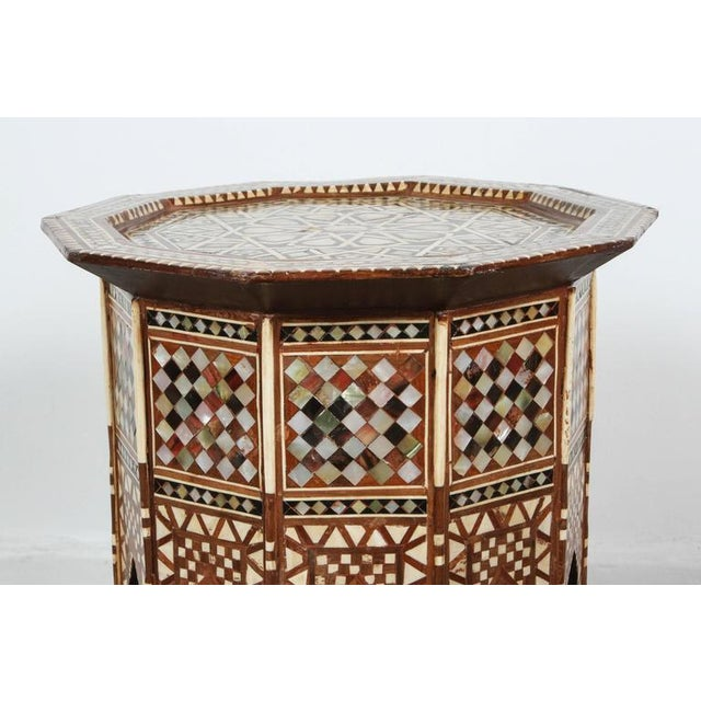 Pair of Syrian Octagonal Tables Inlaid with Mother-Of-Pearl For Sale - Image 4 of 10