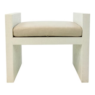 Bungalow 5 Modern White Lacquered Raffia H-Bench For Sale