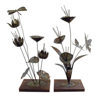 Vintage Mid-Century Modern Jere Style Metal Sculptures - a Pair For Sale