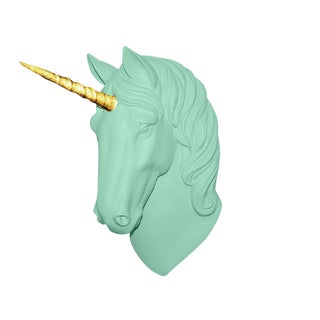 "Wall Charmers ""The Luna"" Faux Mint Green + Gold Glitter Horn Magical Unicorn Head Wall Hanging For Sale"