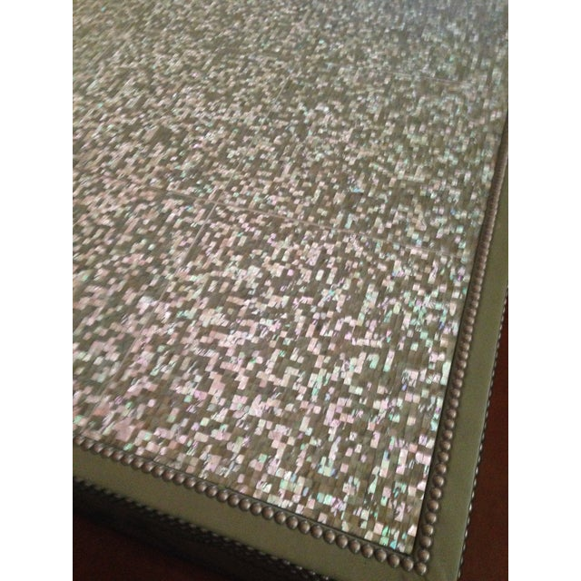 Frank Roop Designed Leather & Mother of Pearl Coffee Table - Image 5 of 6