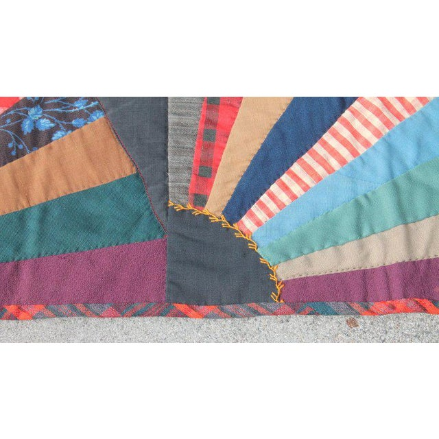 Blue 19th Century Crazy Fan Quilt For Sale - Image 8 of 11