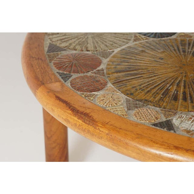 Teak Tue Poulsen Ceramic Art Tile Coffee Table by Haslev 1960s Made in Denmark For Sale - Image 11 of 12