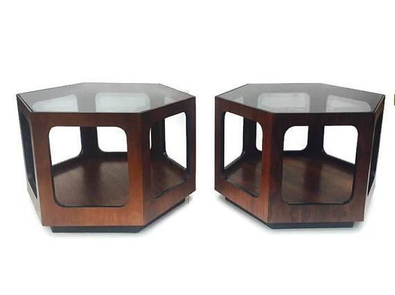 Lane Mid Century Modern Hexagon End Tables   A Pair   Image 11 Of 11