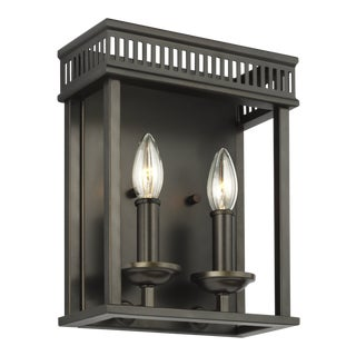 Transitional Bronze 2 - Light Wall Sconce Steel For Sale