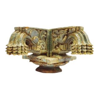 Antique Indonesian Hand Carved Wood Column Capital For Sale
