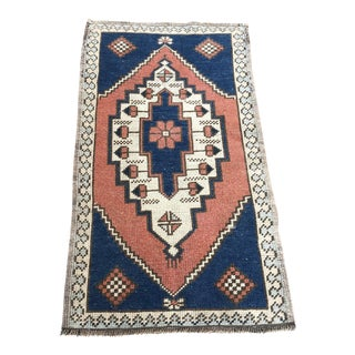 1960s Vintage Bohemian Small Rug- 1′11″ × 3′5″ For Sale