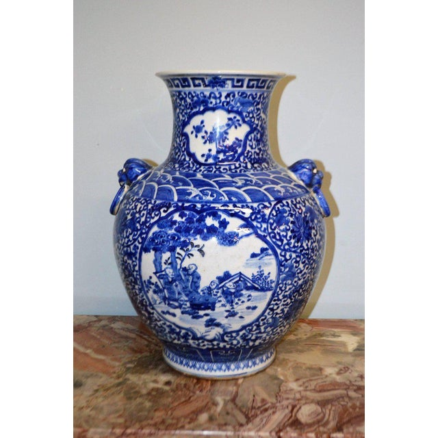 Ceramic Large Blue & White Chinese Porcelain Vase with Figural Subjects and Foo Handles For Sale - Image 7 of 9