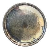 Image of 1940s Silver Plated Round Serving Tray For Sale
