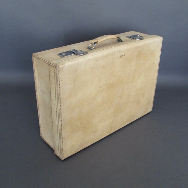 Antique 1920 Cream Vellum Suitcase For Sale - Image 7 of 11