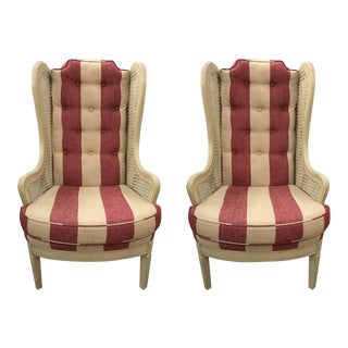 Pair of Vintage Caned Wingback Chairs For Sale