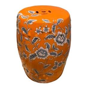 Orange Ceramic Garden Stool For Sale