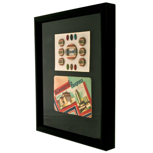 Framed Vintage French Needle Case And Button Card - Image 2 of 2