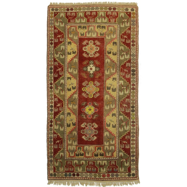 """Vintage Hand Knotted Turkish Runner - 4'10"""" X 9'2"""" For Sale"""