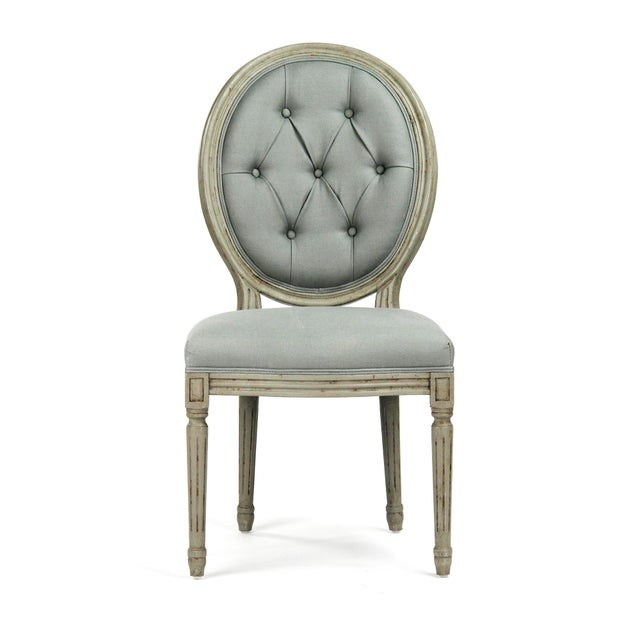 French Country Everest Medallion Tufted Back Side Chair in Sage Linen For Sale - Image 3 of 6