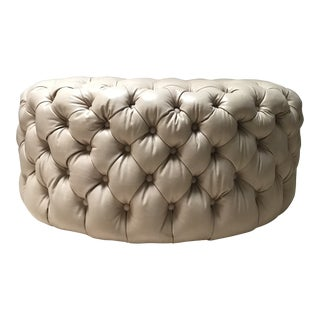 Large Luxe Tufted Leather Ottoman For Sale