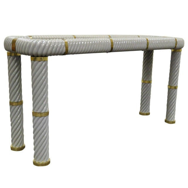1970s Hollywood Regency Tommaso Barbi Porcelain Brass Glass Spiral Grey Console Table For Sale - Image 10 of 10