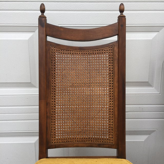 Early American Wood Cane Dining Chairs - a Pair For Sale - Image 4 of 6