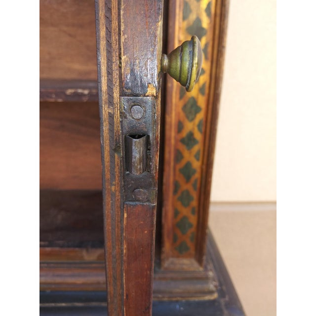 Wood 19th Century Italian Hand Painted Polychromed Giltwood Claw Footed 2 Piece Cupboard For Sale - Image 7 of 13