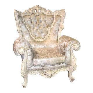 1980s Vintage Ornate Renaissance Style Sitting Chair For Sale