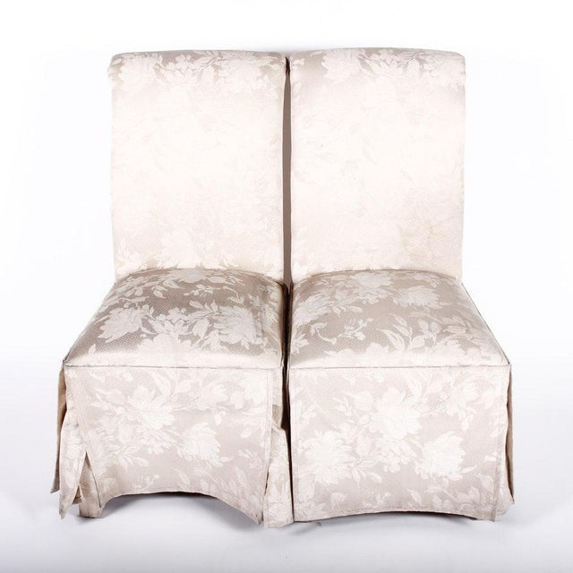 White Contemporary Off White Upholstered High Back Skirted Parsons Chairs - a Pair For Sale - Image 8 of 9