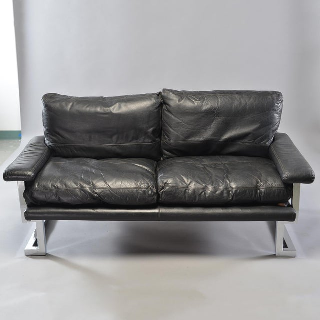 Black Leather and Chrome Sofas by Tim Bates for Pieff & Co. - a Pair For Sale - Image 11 of 13
