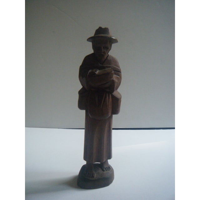 Vintage Handcarved Ecuadorian Wooden Farmer Statue - Image 2 of 4