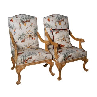 Pierre Frey Upholstered Chippendale Armchairs - A Pair