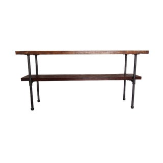 Industrial Style Distressed Wood & Steel Pipe Table For Sale