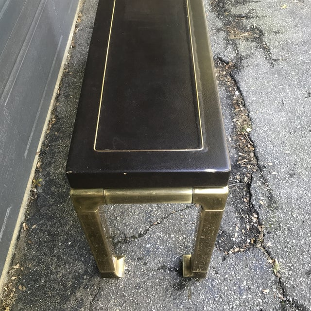 Hollywood Regency Leather Top and Brass Base Console Table by Widdicomb For Sale - Image 6 of 11