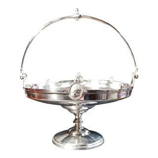 Antique Reed & Barton Silver Plate Roman Medallion Brides Basket Cake Stand For Sale