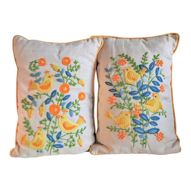 Vintage Embroidered Crewel Bird Throw Pillows - A Pair For Sale