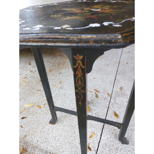 Antique Paper Mache Table With Inlay Mother of Pearl For Sale In Jacksonville, FL - Image 6 of 10