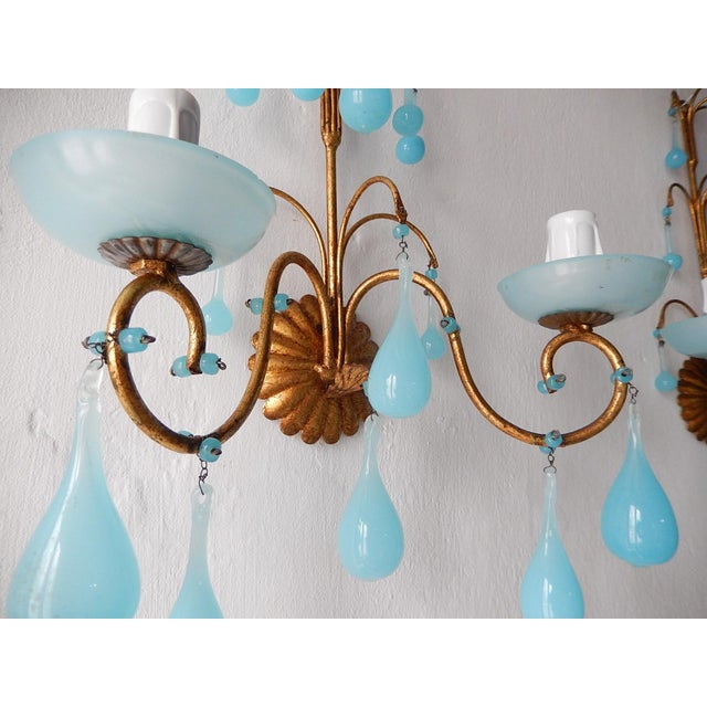 1920s 1920s French Blue Opaline Bobeches Drops & Beads Sconces - a Pair For Sale - Image 5 of 12