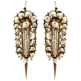 Oaxacan Mexican Gold and Pearl Bridal Earrings - a Pair For Sale
