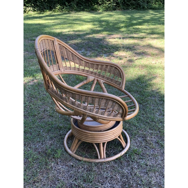 Fabulous 1970S Vintage Rattan Swivel Egg Chair Andrewgaddart Wooden Chair Designs For Living Room Andrewgaddartcom
