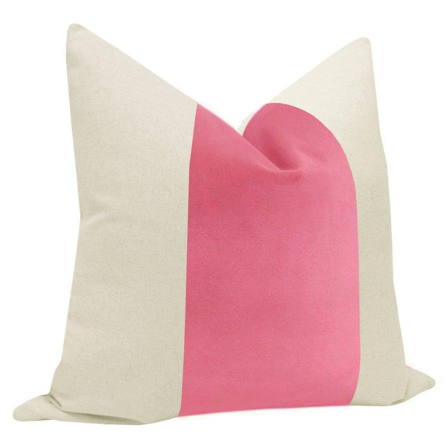 "Contemporary 22"" Rosé Pink Velvet Panel & Linen Pillows - a Pair For Sale - Image 3 of 6"