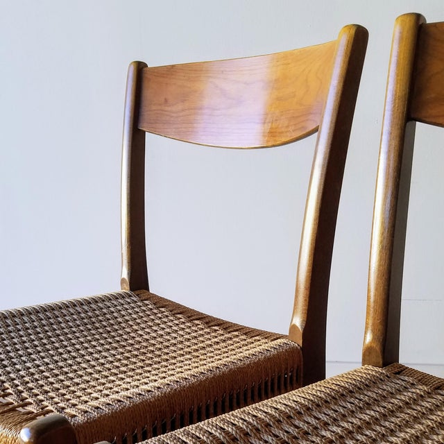 Wood Swedish Mid-Century Modern Rope Dining Chairs - a Pair For Sale - Image 7 of 13