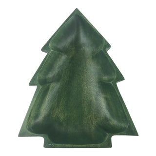 Wood Christmas Tree Shaped Serving Bowl Painted Green For Sale