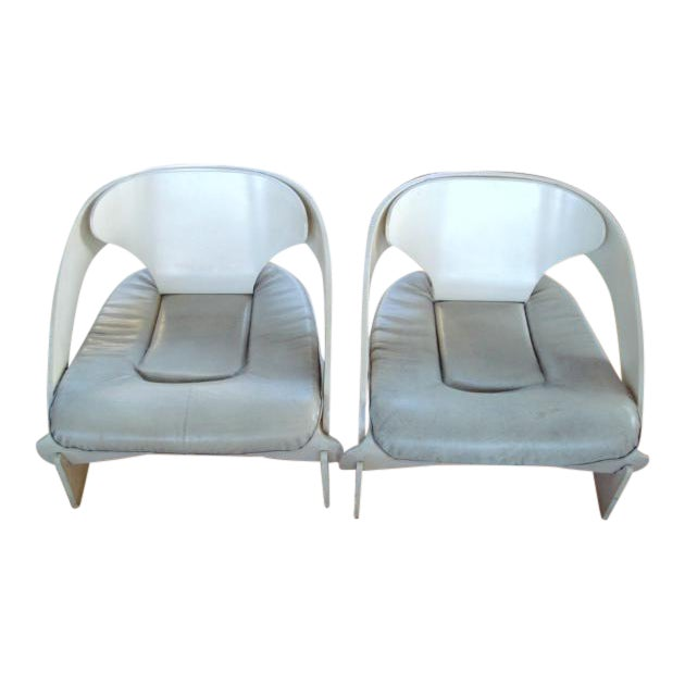 Joe Colombo Bent Plywood Chairs - A Pair For Sale
