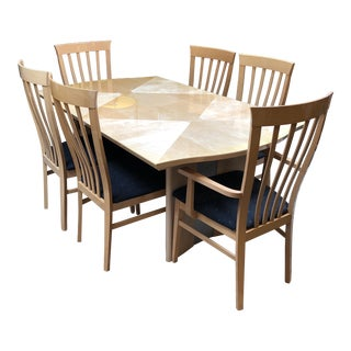 Alf Italy Modern Blonde Dining Set For Sale