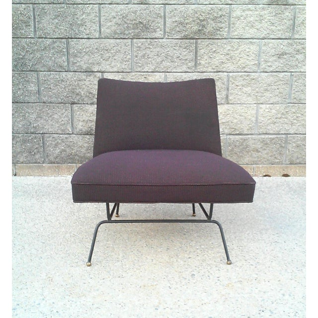 Baughman-Style Mid-Century Iron Frame Slipper Chair - Image 6 of 7